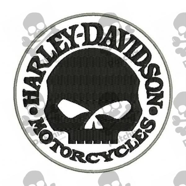 embroidered patch harley davidson skull. Black Bedroom Furniture Sets. Home Design Ideas