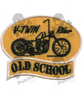 Embroidered patch V-TWIN RIDER OLD SCHOOL