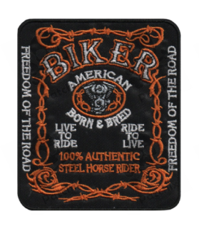 Embroidered patch BIKER AMERICAN