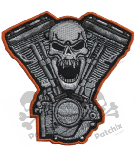 Embroidered patch SKULL TWIN