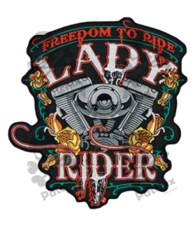 Embroidered patch LADY RIDER XXL