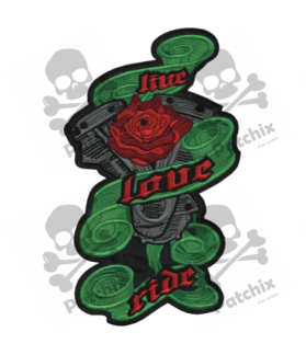Embroidered patch LIVE LOVE XXL