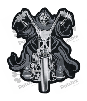 Embroidered patch MOTORCYCLE SKULL