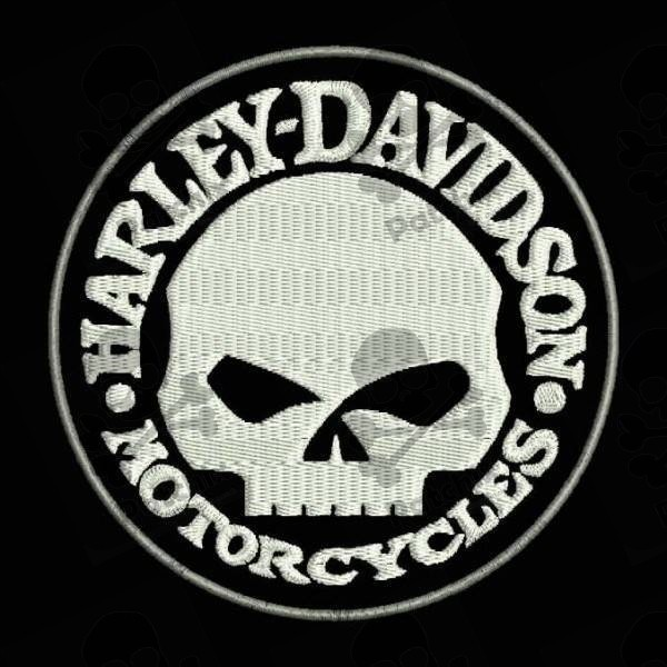 embroidered patch harley davidson skull patchix. Black Bedroom Furniture Sets. Home Design Ideas