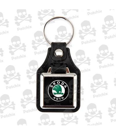 Key chain NICKEL LEATHER BACKGROUND SKODA